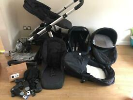 Icandy Apple to Pear double buggy bundle complete with accessories, car seat and isofix base