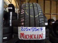 MATCHING SET 205 55 17 MICHELINS 7mm TREAD £70 PAIR £120 SET OF 4 SUP & fittd 7dys (punct £8)
