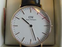 *NEW* Daniel Wellington Ladies Classic Sheffield 36mm Black Leather Watch 0508DW