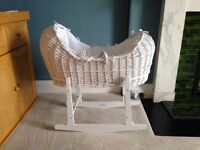 Excellent condition white wicker Isabella Alicia Moses basket for sale
