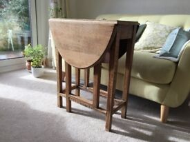 Small solid oak gate leg table