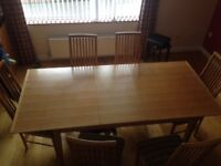 Dining room table and 6 chairs. £150.