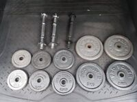 Various lifting weight plates and bars