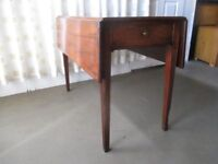 EDWARDIAN INLAID MAHOGANY DROP LEAF TABLE WITH DRAWER FREE DELIVERY