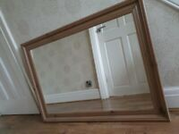 Large oak effect mirror