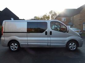 FINANCE ME!! NO VAT!! Renault Trafic Sportive Lwb six seat crew van with only 95k from new!