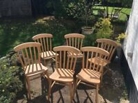 Set of 6 pine wood chairs