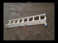 QUALITY SET OF 3 TIER ZARGES 21 FOOT ALUMINIUM LADDER WITH SPREDDER STABILISER FEET