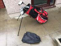 Golf clubs full set of irons, 3 wood, 5 wood, putter & Taylormade golf bag