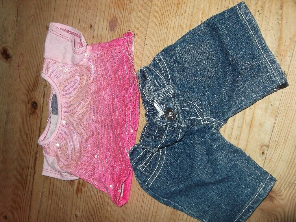 BUILD A BEAR JEANS AND PINK TOP