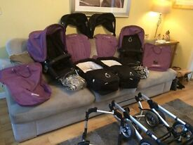 iCandy Pear double pram with 2 x carrycots, 2 x infant buggys, conversion kit and extras