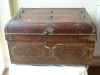 Antique metal trunk