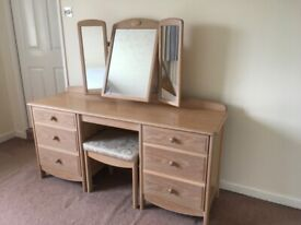 Stag Limed Oak Dressing Table with stool and Bedside Cabinet