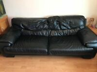3 piece and 2 x single black leather sofas