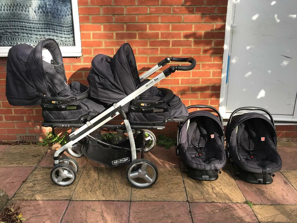 Twins pushchair / Double pram Bebecar Vector Duo PLUS two Bebecar CAR SEATS - Great Condition