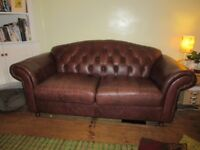 'Real' Leather Chesterfield Style Three-Seater Sofa