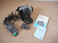 CANON EOS 400D DIGITAL CAMERA WITH LENS, BATTERIES/CHARGER, MEMORY CARD, USERS MANUAL