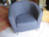 IKEA tub chair. Excellent condition. Grey with blue loose cover.