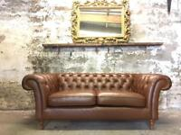 Chestnut Leather M&S Chesterfield Sofa