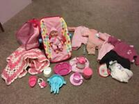 Girls Doll Baby Carrycot Clothes Bottle Bag
