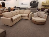 Ex Display Seattle Corner Sofa & Swivel Chair **CAN DELIVER**