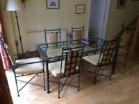 Gothic Style Glass Dining Table & Six Chairs, Glass Top with Wrought Iron Base