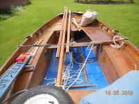 Mirror sailing dinghy with road trailer, launching wheels, cover
