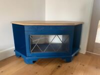 Navy and wood TV stand / bench / cabinet
