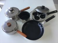 Vintage Prestige Copper bottom Saucepans, egg poacher and frying pan