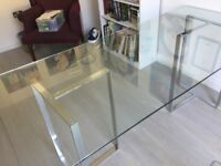 John Lewis large glass desk with chrome stand