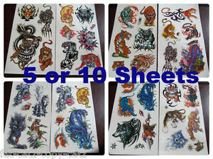 5-or-10-SHEETS-BOYS-ANGRY-TIGER-WOLF-PREDATOR-TEMPORARY-TATTOOS-PARTY-LOOT-BAG