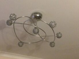 Chrome ceiling light complete with stainless steel dimmer switch