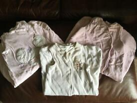 3 x 6-12 month sleep suits