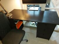 Good condition black compact desk with drawers and desk chair