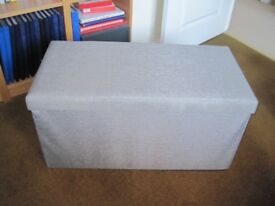 Grey Hessian Folding Ottoman