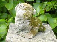 Vintage Cast Stone British Bulldog Garden Ornament Statue with Moss Growing