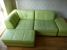 DFS Green Leather Sofa