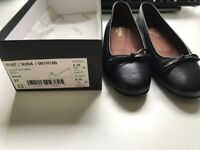 Unworn Hobbs Black Odette Ballerina Leather Shoes Size 37