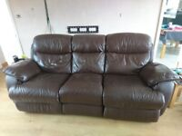 Brown double electric recliner sofa with storage footstool originally from furniture village