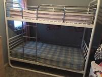 WHITE AND CHROME METAL BUNK BEDS WITH MATTRESSES £30