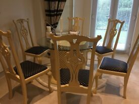 Interior designed Cane Dining Table 6 Chippendale Upholstered Chairs 2Side tables 1 Side Unit
