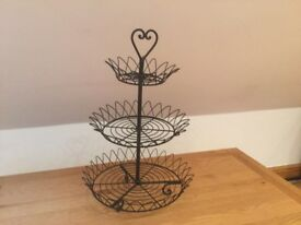 Vintage style 3-tier metal wire cake/wedding favour/fruit/shop display stand