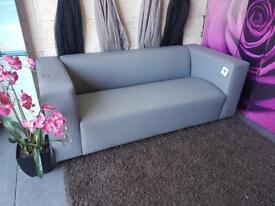New Clarke Faux Leather 3 Seater Sofa In Grey