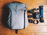 Nikon D7000 DSLR with Nikkor lenses 18-105mm, 50mm, 55-200mm & Peak Design bag and strap
