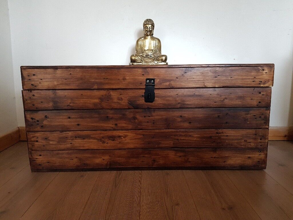 Wood Storage Trunk Coffee Table.Xl Wooden Trunk Bench Storage Chest Coffee Table Rustic Handcrafted Reclaimed Wood Local Delivery In Hammersmith London Gumtree