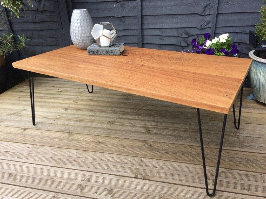 Vintage Coffee Table Handmade From An Old School Desk Black Metal With Hairpin Legs