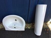 Toilet, basin and pedestal white