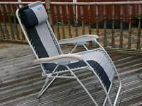 Kampa reclining chairs with plastic wood effect arms and built in pillows X 2