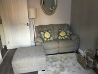Two seater recliner sofa grey with large stool