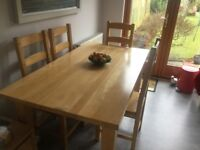 Solid beech dining table and 4 chairs (160cm x 88cm)